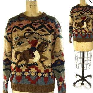 RALPH LAUREN Western Cowboy Horse Sweater Men NEW